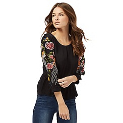 Red Herring - Black long sleeve embroidered top