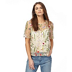Red Herring - Ivory floral embroidered mesh top