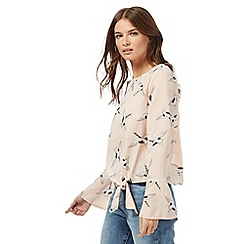 Red Herring - Light pink crane print flute sleeve top