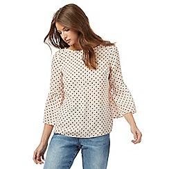 Red Herring - Light pink  spot print flute sleeve blouse