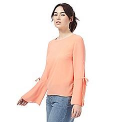 Red Herring - Coral tie sleeves blouse