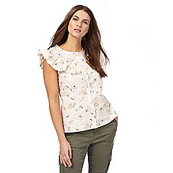 Red Herring - Peach floral print yoke blouse