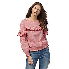 Red Herring - Red jacquard frill top