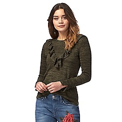 Red Herring - Khaki ruffled top