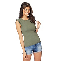 Red Herring - Khaki ruffle vest top
