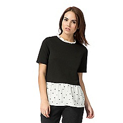 Red Herring - Black 2-in-1 peplum top