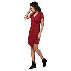 Red Herring - Red space dye kimono wrap dress