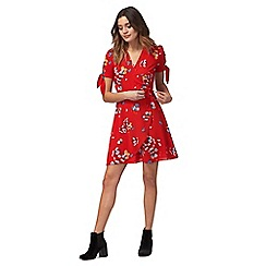 Red Herring - Red floral print v-neck mini wrap over tea dress