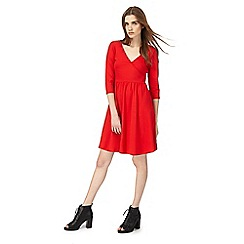 Red Herring - Red mock wrap skater dress