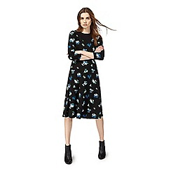 Red Herring - Black floral print midi dress