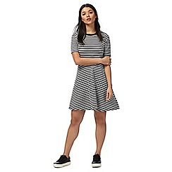 Red Herring - Black and white jacquard skater dress