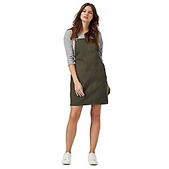 Red Herring - Khaki denim pinafore