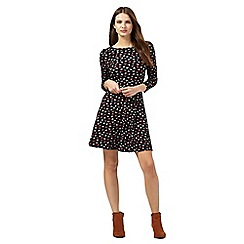 Red Herring - Black heart print skater dress