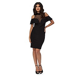 Red Herring - Black high neck cold shoulder knee length shift dress