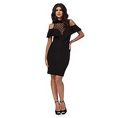 Red Herring - Black ruffle cold shoulder dress
