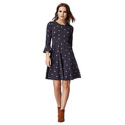 Red Herring - Navy rosebud print knee length skater dress