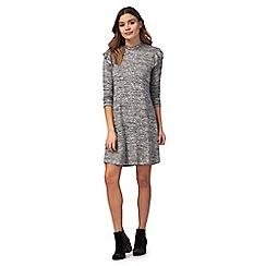 Red Herring - Dark grey ruffled shoulder dress