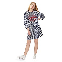 Red Herring - Navy gingham print smock dress