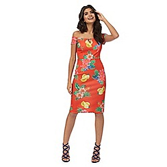 Red Herring - Orange floral print bardot neck knee length pencil dress