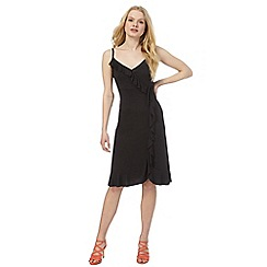 Red Herring - Black frill detail mock wrap dress