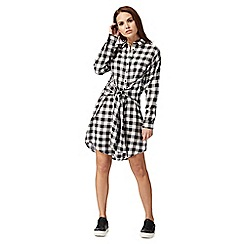 Red Herring - Black and white checked shirt dress