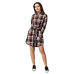 Red Herring - Red checked front tie dress