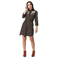 Red Herring - Khaki floral embroidered shirt dress