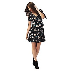 Red Herring - Black floral print v-neck mini wrap dress