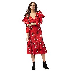 Red Herring - Red floral print v-neck midi tea dress