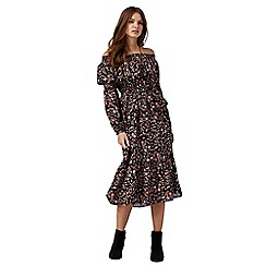 Red Herring - Black floral print bardot neck midi tea dress