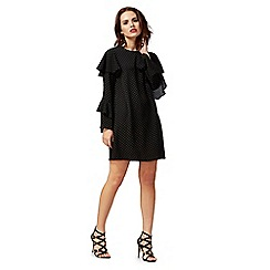 Red Herring - Black dot print long sleeve mini shift dress