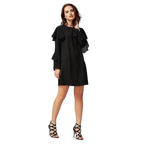Red Herring - Black dot print long sleeve mini shift dress