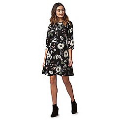 Red Herring - Black floral print knee length tea dress