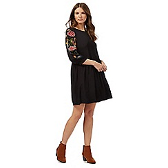 Red Herring - Black embroidery smock dress