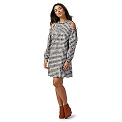 Red Herring - Black check print cold shoulder knee length shift dress