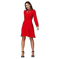 Red Herring - Red long sleeve frill front dress