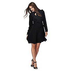 Red Herring - Black long sleeve frill front dress