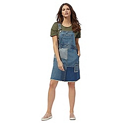 Red Herring - Blue patchwork denim pinafore