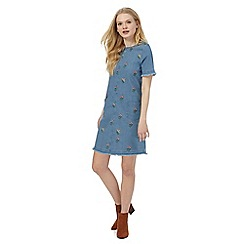 Red Herring - Blue floral embroidered denim dress