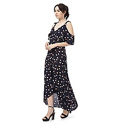 Red Herring - Navy floral print 'Hilda' v-neck cold shoulder maxi dress