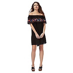 Red Herring - Black embroidered Bardot dress