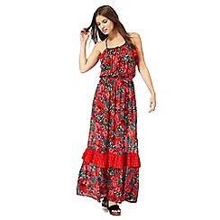Red Herring - Red tropical print cold shoulder dress