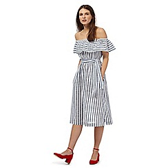 Red Herring - Navy stripe bardot dress