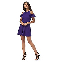 Red Herring - Purple cold shoulder frilled playsuit