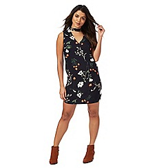 Red Herring - Navy floral print v-neck mini shift dress