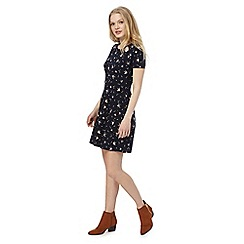 Red Herring - Navy swallow print mini skater dress