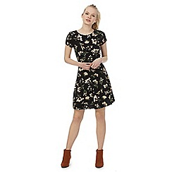Red Herring - Black floral print mini skater dress