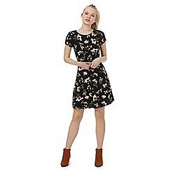 Red Herring - Black floral print skater dress