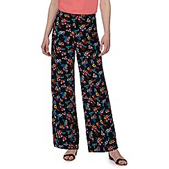 Red Herring - Black tropical floral print wide legged trousers