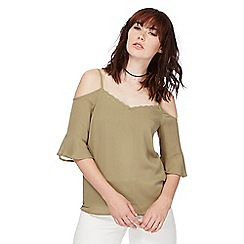 Noisy may - Khaki 'Alberte' cold shoulder top